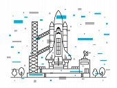 Space shuttle vector illustration. Spaceship on space-vehicle launching site space centre cosmodrome spacedrome. Spacecraft crative line art concept. Rocket ready to start outline design. poster