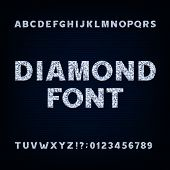 Diamond alphabet font. Brilliant letters symbols and numbers. Stock vector typeface for your design. poster