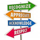 Recognize Appreciation Acknowledge Respect Signs 3d Illustration poster