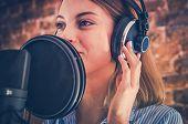 Woman Recording Audiobook. Audio Recording Studio Theme. Caucasian Voice Talent. poster