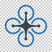 Airdrone EPS vector pictogram. Illustration style is flat iconic bicolor smooth blue symbol. poster