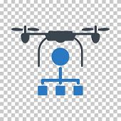 Drone Distribution EPS vector pictogram. Illustration style is flat iconic bicolor smooth blue symbol. poster