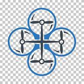 Drone Screws EPS vector pictograph. Illustration style is flat iconic bicolor smooth blue symbol. poster