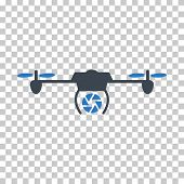 Shutter Spy Airdrone EPS vector icon. Illustration style is flat iconic bicolor smooth blue symbol. poster