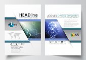 Business templates for brochure, magazine, flyer, booklet or annual report. Cover design template, easy editable blank, abstract flat layout in A4 size. DNA molecule structure, science background. Scientific research, medical technology. poster