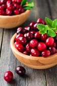 Fresh juicy cranberries in a bamboo bowl on the old wooden background. Selective focus. poster