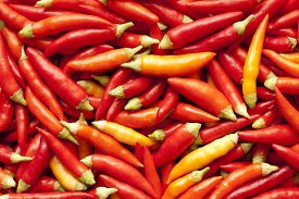 little fresh piquant red paprika as background