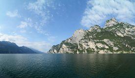 Lake Garda (Lago di Garda) - Italy - panoramic view from ship not far from Riva del Garda.