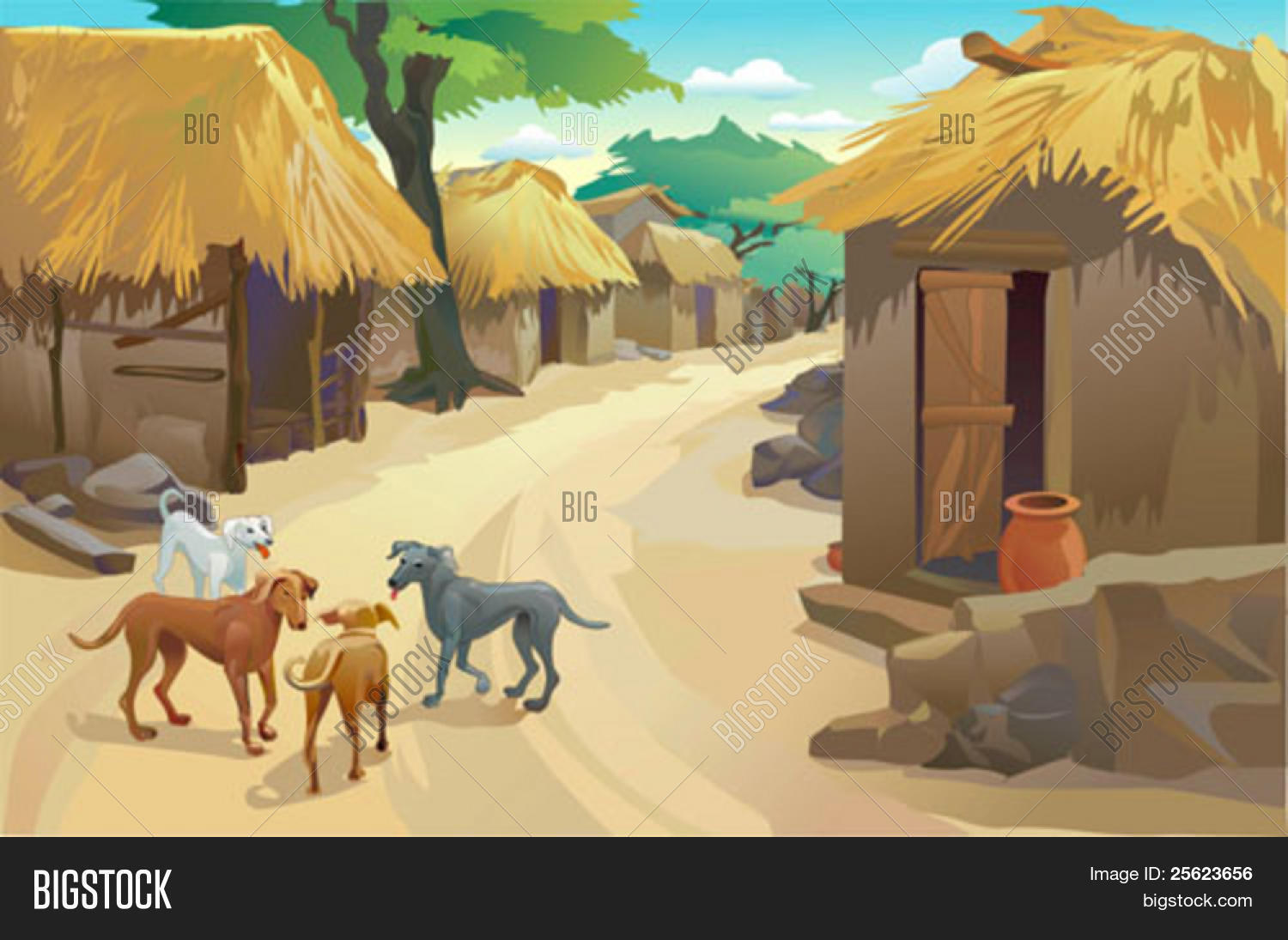 Indian Village Huts And Dogs Simple Life