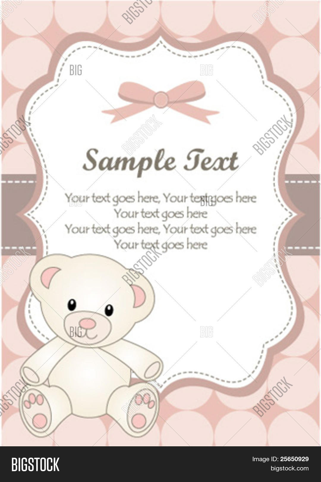 Baby girl greeting card teddy bear vector photo bigstock baby girl greeting card with teddy bear kristyandbryce Images