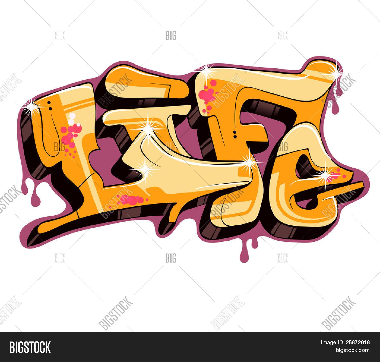 Graffiti vector design word life create a lightbox
