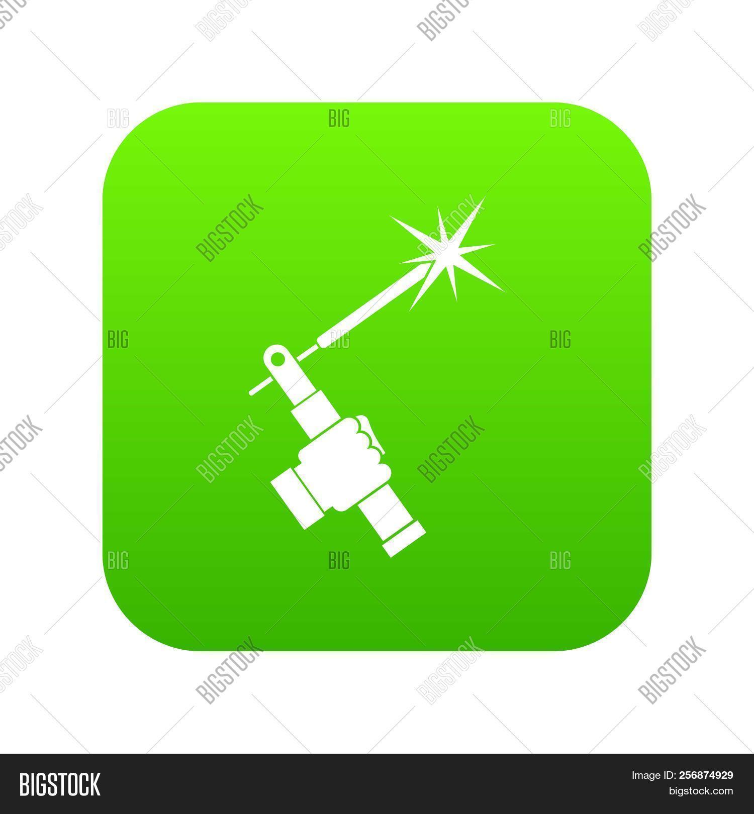 Mig Welding Torch In Hand Icon Digital Green For Any Design Isolated On  White Illustration