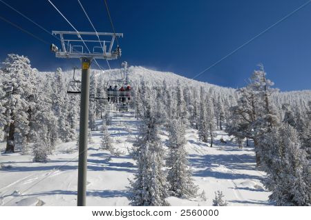 Ski Lift At Lake Tahoe Skiing Resort