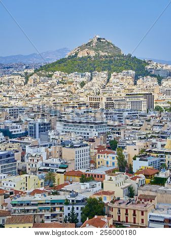 Athens, Greece - July 1, 2018. View Of The City Of Athens With The Lykavittos Hill In Background. Vi