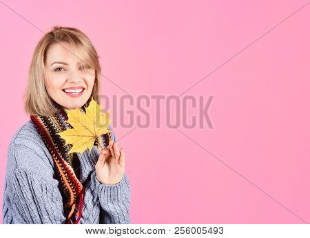 Autumn. Woman With Autumn Leaf. Smiling Woman With Autumnal Leaf. Autumn Time. Autumn Mood. Woman In