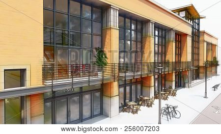 Trade And Office Center With Many Shops, Cafes And Restaurants. Cultural And Entertainment Space Of