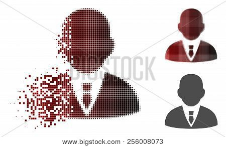 Boss Icon In Dispersed, Pixelated Halftone And Undamaged Solid Variants. Pixels Are Grouped Into Vec