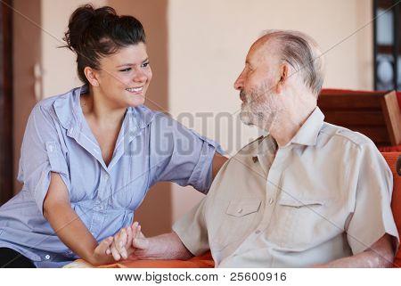 elderly and nurse or carer