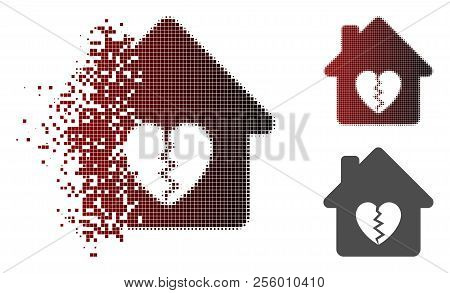 Divorce House Heart Icon In Dissolved, Dotted Halftone And Undamaged Whole Versions. Elements Are Gr