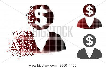 Financier Icon In Sparkle, Dotted Halftone And Undamaged Whole Variants. Pieces Are Composed Into Ve