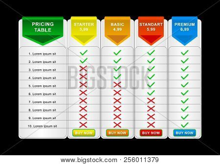 Comparison Pricing List. Comparing Price Or Product Plan Chart Compare Products Business Image Grid.