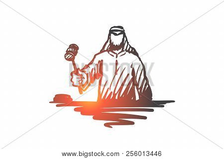 Justice, Judge, Indictment, Muslim Concept. Hand Drawn Arab Judge With Hammer Concept Sketch. Isolat