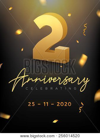 2 Years Anniversary Celebration Event. Golden Vector Birthday Or Wedding Party Congratulation Annive