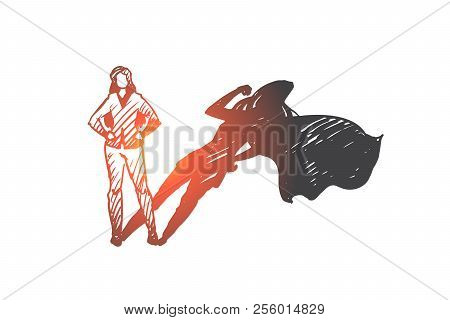 Superwoman, Self-esteem, Businessman, Potential Concept. Hand Drawn Woman With High Potential And Hi