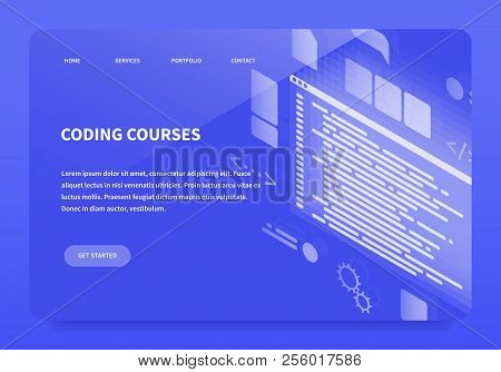 Isometric Concept Landing Page Coding Courses. First Main Page Of Site. Vector Illustration With Tem