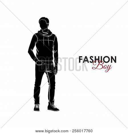 Fashionable Guy. Fashion. Silhouette Of A Guy. The Guy In Jeans And Jamper