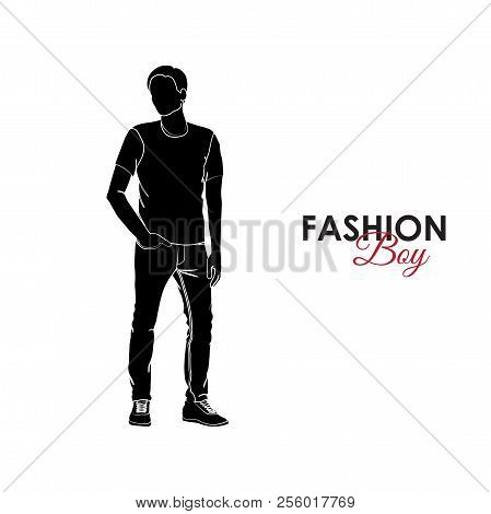 Fashionable Guy. Fashion. Silhouette Of A Guy. The Guy In Jeans And A T-shirt