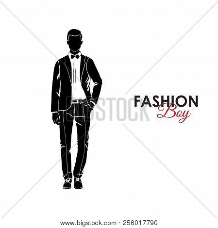 Fashionable Guy. Fashion. Silhouette Of A Guy. The Guy In A Classic Suit And Bow Tie