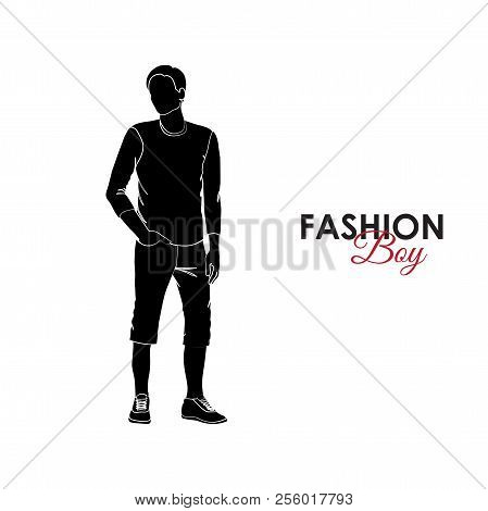 Fashionable Guy. Fashion. Silhouette Of A Guy. Guy In A T-shirt And Breeches