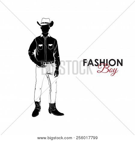 Fashionable Guy. Fashion. Silhouette Of A Guy. The Guy In The Cowboy Hat. Cowboy