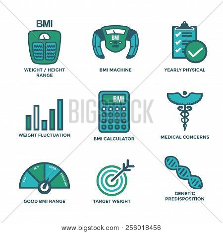 Bmi - Body Mass Index Icon Set With Bmi Machine, A Weight Scale, Etc