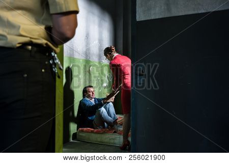 Dedicated female attorney visiting a young male inmate while helping him with the legal procedures in an obsolete prison cell during custody poster