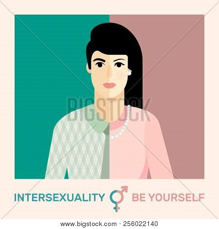 Intersexual Concept. Flat Vector Illustration Of Person With Male And Female Marker.