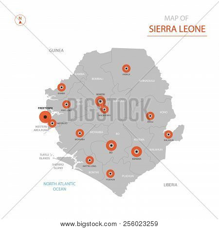 Stylized Vector Sierra Leone Map Showing Big Cities, Capital Freetown, Administrative Divisions.