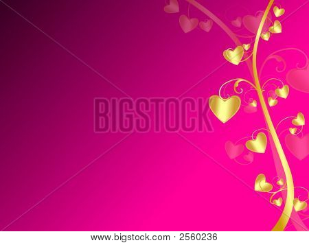 Purple Background With Golden Heart Plant
