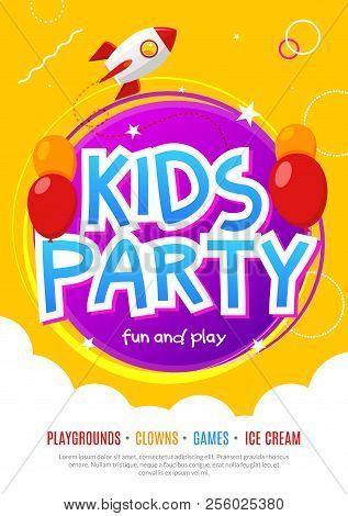 Kids Fun Party Celebration Flyer Design Template. Child Event Banner Decoration. Birthday Invitation