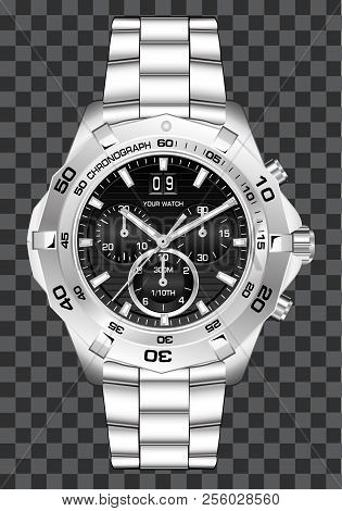 Silver Watch Clock Chronograph Luxury On Grey Checkered Background Vector Illustration.