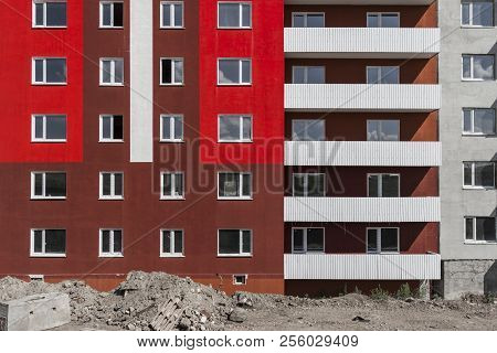 Colorful Apartment Building. Kazakhstan (ust-kamenogorsk). Apartment Building Brightly Painted. Buil
