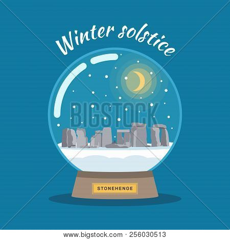 Vector Illustration of winter solstice on december 21. Snowball with Stonehenge. poster