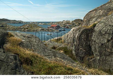 Sea Landscape Of Rocky Coastline On The South Of Sweden. Southern Coastline Of Sweden With View At R