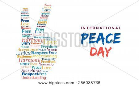 World Peace Day Illustration For International Freedom And Holiday Celebration. Hand Sign Made Of Pe
