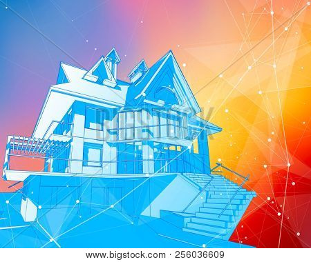 A modern house on a color background surrounded by digital networks - an illustration of a smart eco-friendly home - the concept of modern information technology smart house or smart city