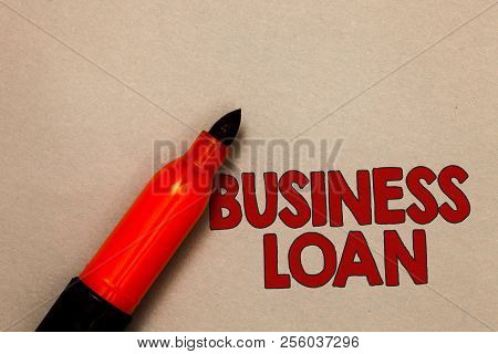 Word writing text Business Loan. Business concept for Credit Mortgage Financial Assistance Cash Advances Debt Open red marker intention communicating message ideas beige background. poster