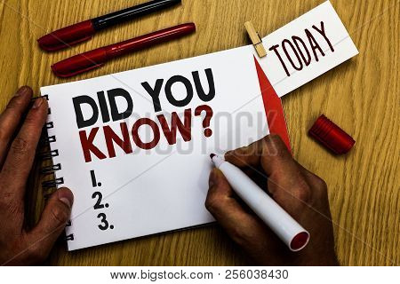 Handwriting Text Writing Did You Know Question. Concept Meaning Fun Facts And Figures Information Ge