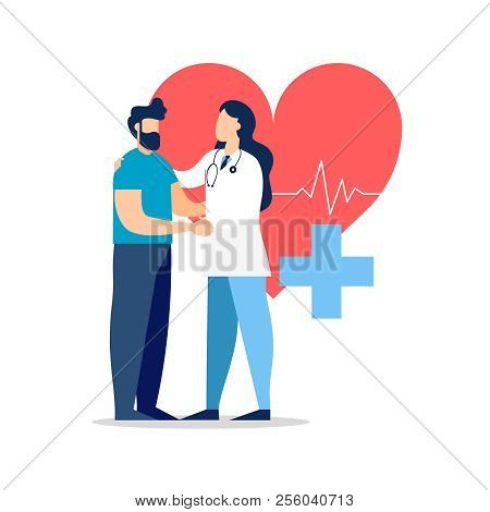 Doctor Taking Care Of Patient Health For Medical Exam, Checkup Or Consultation Concept. Medicine Ill