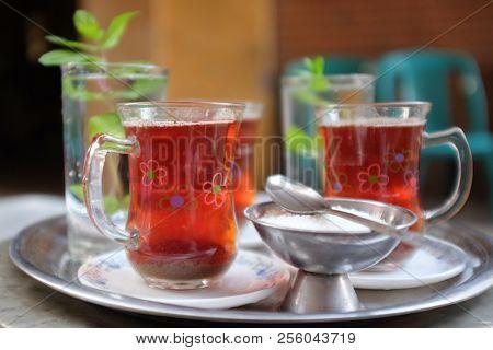 Serving tea with mint in Khan Al Khalili street in Cairo - Egypt